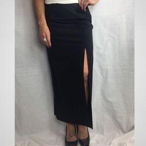 Ann Taylor Stretch long dark navy skirt with slit